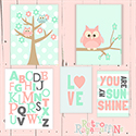 Mint Owl Multiple Print Set