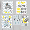 Moon and Back Grey Multiple Print Set Nursery Art