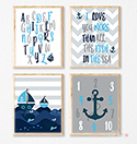 Prints Modern Nursery Room Decor Boys Nautical Boats Blue
