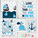 Nautical Group Multiple Print Set Nursery Art