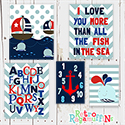 Nautical Red Multiple Print Set Nursery Art WalL Decor