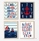 Prints Modern Nursery Room Decor Boys Nautical Boats Navy