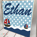 Personalised Wooden Name Plaque Boys Nautical Boats