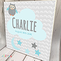 Personalised Wooden Name Plaque Boys Owl Stars