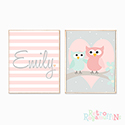 Nursery Prints Personalised Decor Girl Owl Heart