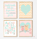 Prints Modern Nursery Room Decor Girls Pastel Pink Owl