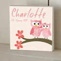 Patchwork Owls Wooden Name Plaque