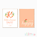 Nursery Prints Personalised Decor Girl Floral Monogram Peach