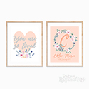 Nursery Prints Personalised Decor Girl Floral Heart Wreath Pink