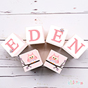 Personalised Wooden Letter Name Blocks Girls Pink Owl