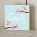 Rose Bird Wooden Name Plaque