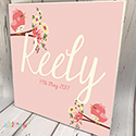 Personalised Wooden Name Plaque Girls Decor Rose Bird Pink
