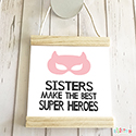Hanging Pendant Print Scroll Sign Nursery Girls Sisters