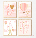 Prints Modern Nursery Room Decor Girls Pink Paris Balloon