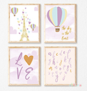 Prints Modern Nursery Room Decor Balloon Paris Purple