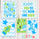 Space Love Green Group Multiple Print Set Nursery Art