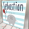 Personalised Wooden Name Plaque Boys Decor Stripped Elephant
