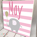 Personalised Wooden Name Plaque Girls Decor Stripped Elephant