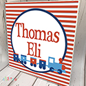 Personalised Wooden Name Plaque Boys Decor Stripped Train