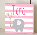 Striped Elephant Pink Girls Wooden Name Plaque Door Sign
