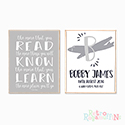 Nursery Prints Personalised Decor Boy The More You Read Grey