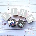 Personalised Wooden Letter Name Blocks Transport Boys Grey