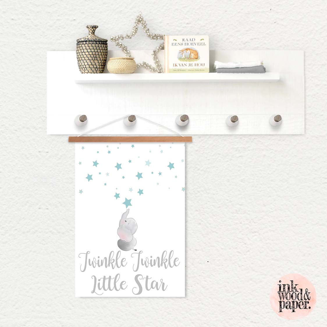 Hanging Pendant Print Scroll Sign Nursery Boys Twinkle Twinkle