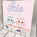 Personalised Wooden Name Plaque Girls Decor Two Owl Friends