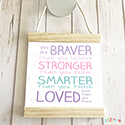 Hanging Pendant Print Scroll Sign Nursery Girls You Are Brave