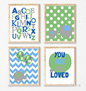 Prints Modern Nursery Room Decor Boys So Loved Green Elephant