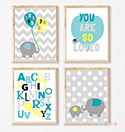 Prints Modern Nursery Room Decor Elephant Love Blue