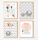 Prints Modern Nursery Room Decor Elephant So Loved Pink